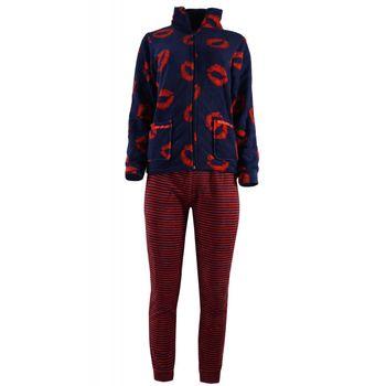 Γυναικεία πιτζάμα fleece τσέπες φερμουάρ ριγέ παντελόνι. ΜΠΛΕ