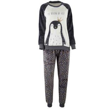 Γυναικεία πυτζάμα coral-fleece. Comfortable style ΓΚΡΙ