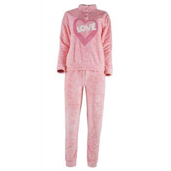 Γυναικείο πιτζάμα fleece κέντημα love με ψηλό γιακά & κουμπιά ΡΟΖ