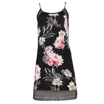 Γυναικείο νυχτικό all print floral. Comfortable style. ΜΑΥΡΟ
