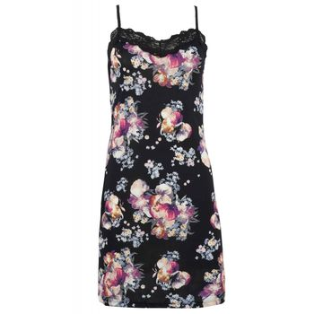 Γυναικείο νυχτίκο fuanna all print floral. Elegant style ΜΑΥΡΟ