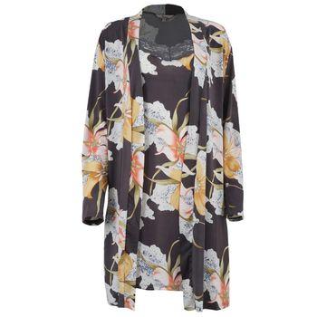 Γυναικείο σετ ρόμπα νυχτίκο all print floral.Elegant style. ΑΝΘΡΑΚΙ