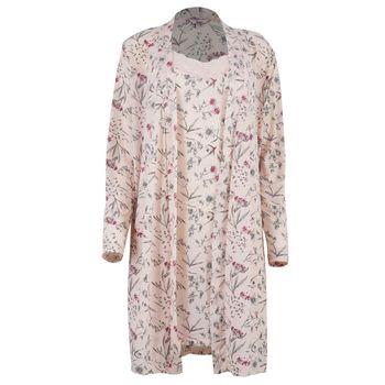 Γυναικείο σετ ρόμπα νυχτίκο all print floral.Elegant style. ΡΟΖ