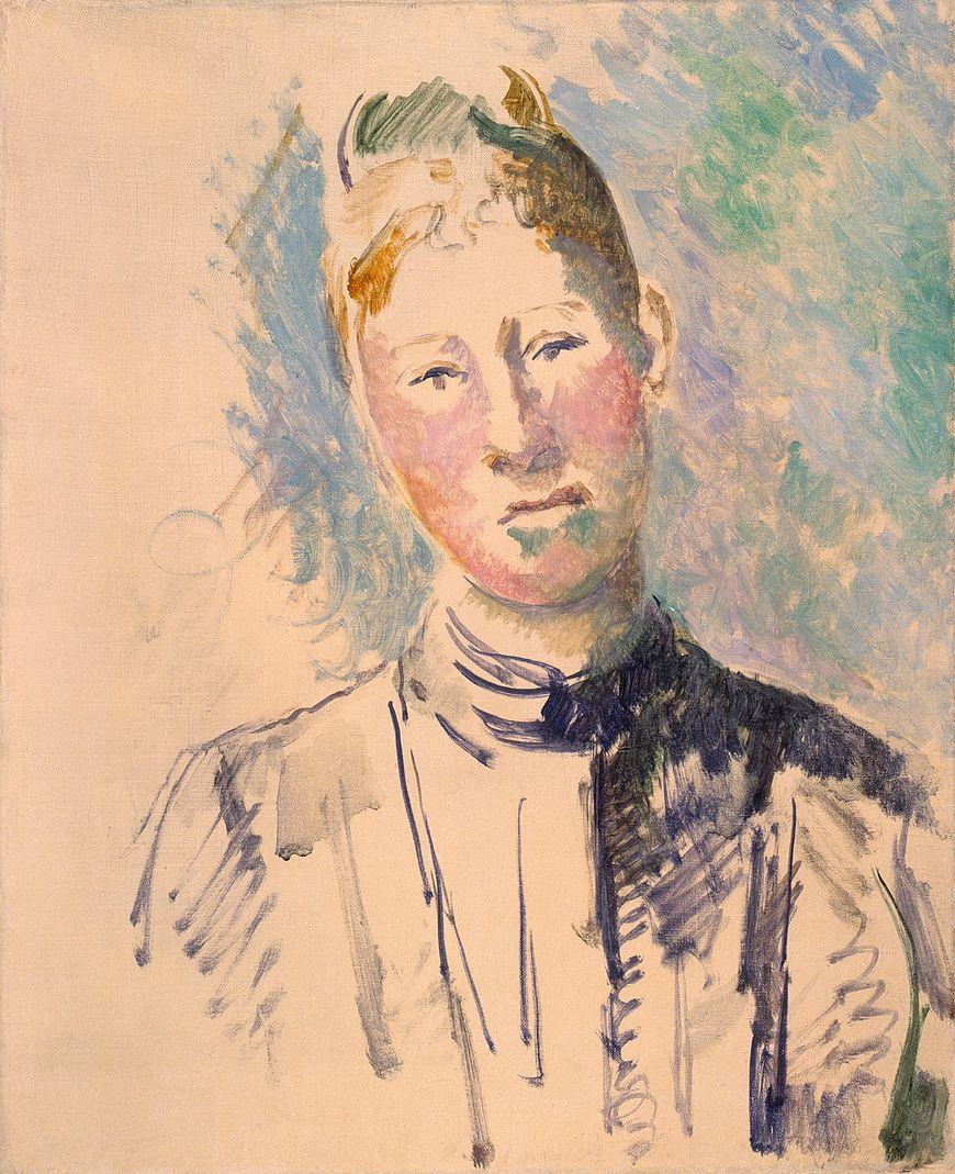 ポールセザンヌ、マダムセザンヌ、ca。 1885–87。 キャンバスに油彩、グラファイトの痕跡、21 7/8 x 18インチ(55.6 x 45.7 cm)