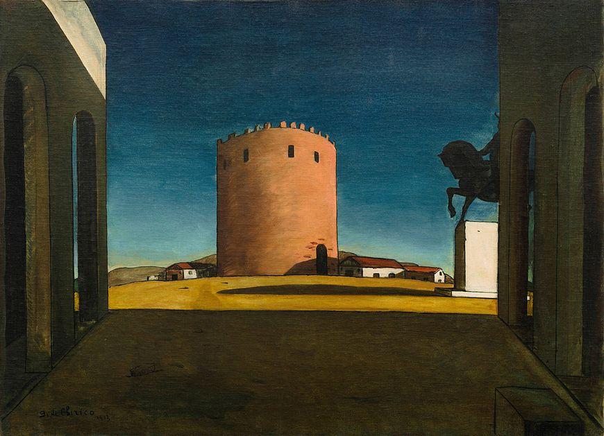 ジョルジョ・デ・キリコ、赤い塔、1913年。キャンバスに油彩、28 15/16 x 39 5/8インチ(73.5 x 100.5 cm)