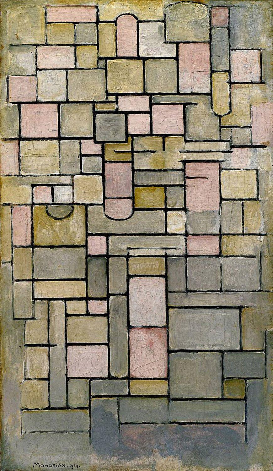 ピエトモンドリアン、コンポジション8、1914年。キャンバスに油彩、37 1/4 x 22(94.6 x 55.9)