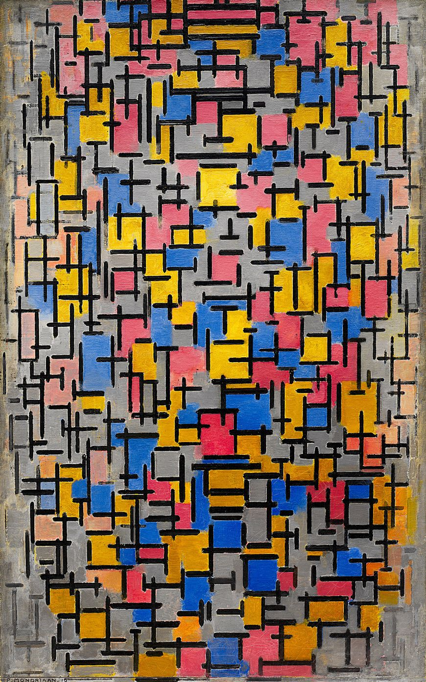 Piet Mondrian, Composition, 1916. Oil on canvas, with wood, 47 1/4 x 29 3/4 inches (120 x 75.6 cm)