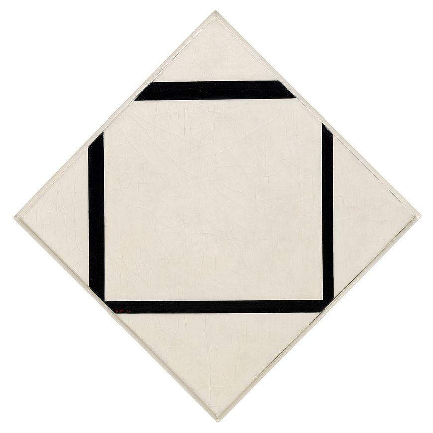 ピエト・モンドリアン、作曲番号1:4本の線のある菱形、1930年。キャンバスに油彩、29 5/8 x 29 5/8インチ(75.3 x 75.3 cm)。 垂直軸:41 3/8インチ(105.1 cm); 横軸:42 5/8インチ(108.3 cm)