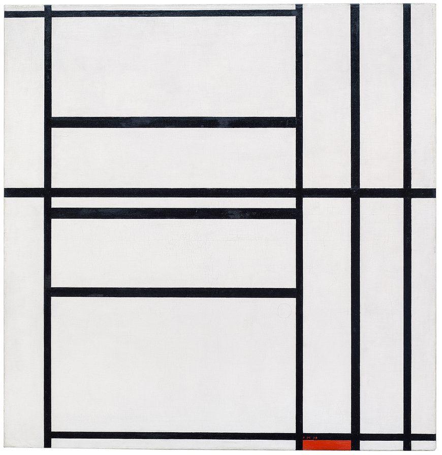 ピエト・モンドリアン、作曲第1番、灰色と赤1938 /作曲、赤1939、1938–39。 キャンバスに油彩、木製サポートに取り付け、キャンバス:41 7/16 x 40 5/16インチ(105.2 x 102.3 cm); マウント:43 x 41 3/4 x 1インチ(109.1 x 106 x 2.5 cm)