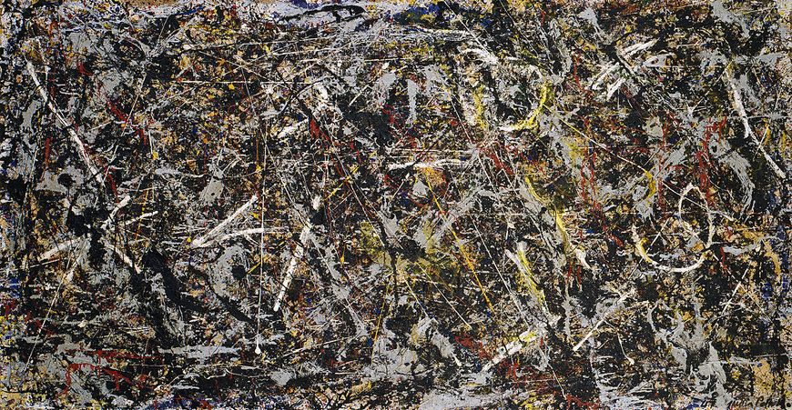 Jackson Pollock, Alchemy, 1947. Oil, aluminum, alkyd enamel paint with sand, pebbles, fibers, and wood on commercially printed fabric, 45 1/8 x 87 1/8 inches (114.6 x 221.3 cm)