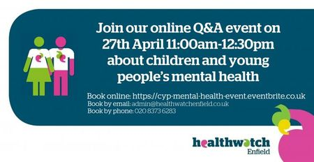 poster or flyer advertising event Online Q&A event: Children and young people's mental health