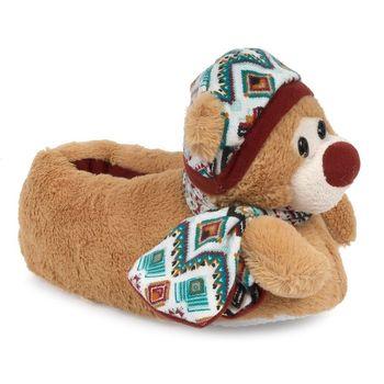 Παντόφλες με γουνάκι και αρκουδάκι Μπεζ