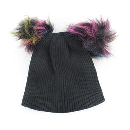 Γυναικείοι σκούφοι με πολύχρωμα φουντάκια Μαύρο