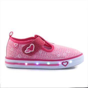 Παιδικά sneakers με αυτοκόλλητο και φωτάκια Ροζ