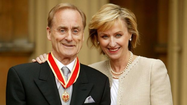 The late Harold Evans at Buckingham Palace in London with his wife, Tina Brown, after he was knighted by the Prince of Wales for service to journalism in 2004. Photograph: John Stillwell / PA Wire