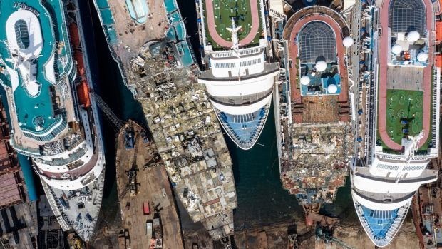 Five luxury cruise ships are seen being broken down for scrap metal at the Aliaga ship recycling port on October 02, 2020 in Izmir, Turkey. Photograph: Chris McGrath/Getty