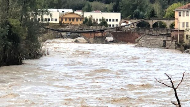 The flooding of the river Tanaro, in Ormea, near Cuneo, beats the flood values of 1994 and 2016 before falling below the levels of danger. Photograph: Raffaele Sasso/EPA