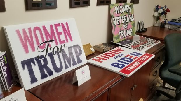 Trump paraphernalia laid out at the Republican Party's Montogomery County headquarters in Ohio. Photograph: Stephen Starr