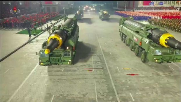 The Hwasong-12 intercontinental ballistic missiles during the military parade. Photograph KCNA via KNS/AFP/Getty