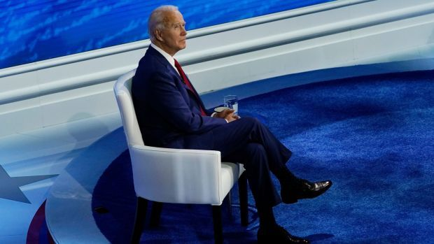 Democratic presidential candidate Joe Biden before the start of a town hall on ABC at the National Constitution Center in Philadelphia on Thursday. Photograph: AP