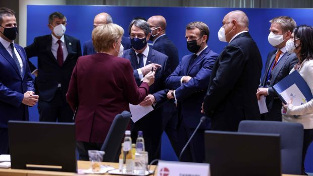Bulgaria's prime minister Boyko Borisov (right), France's president Emmanuel Macron, Cypriot president of the Republic Nicos Anastasiades and German chancellor Angela Merkel at the EU summit in Brussels. Photograph: Kenzo Tribouillard/AFP via Getty Images