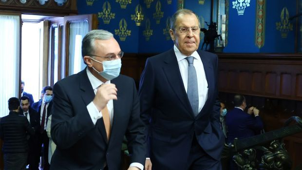 Armenian foreign minister Zohrab Mnatsakanyan(left)and Russian foreign minister Sergei Lavrov during their meeting in Moscow, Russia, on Wednesday. Photograph: Russian Foreign Affairs Ministry/EPA