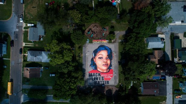 A mural of Breonna Taylor on two basketball courts in Annapolis, Maryland, photographed by drone. Photograph: Jim Lo Scalzo /EPA