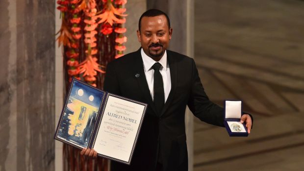 """Ethiopia's prime minister and Nobel Peace Prize Laureate Abiy Ahmed Ali: Civilians need to play a """"key role"""" by standing with the Ethiopian army. Photograph: Fredrik Varfjell/AFP"""
