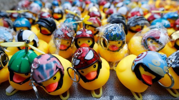 Yellow ducks in multiple forms have become good-humored symbols of resistance during anti-government rallies. Photograph: Sakchai Lalit/AP