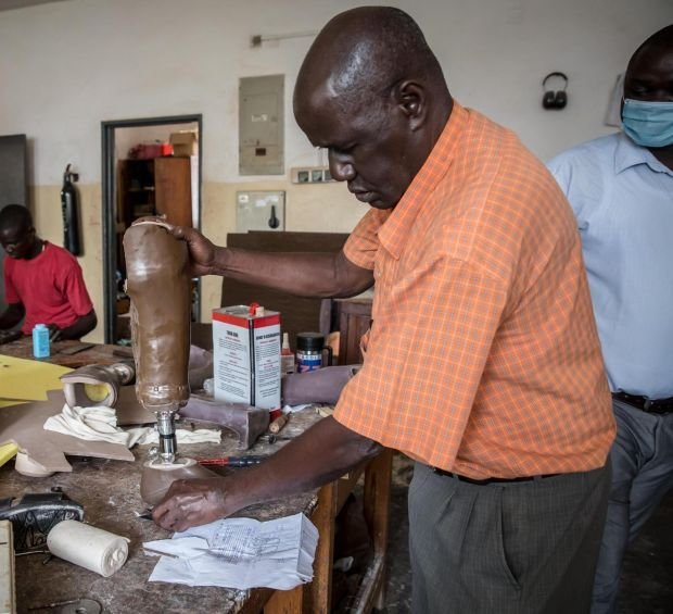 Making prosthetic limbs at Gulu Regional Referral Hospital. Photograph: Sally Hayden