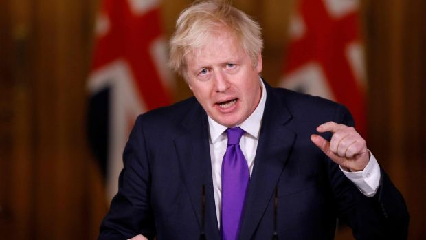 British prime minister Boris Johnson speaks during a virtual press conference in No 10 Downing Street in London on December 2nd. Britain on Wednesday became the first western country to approve a Covid-19 vaccine for general use. Photograph: John Sibley/AFP/Getty