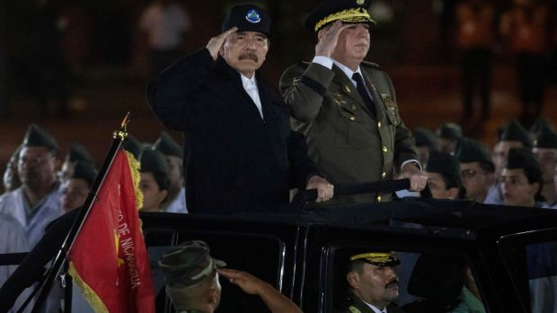 Nicaragua's president Daniel Ortega and commander-in-chief of the Nicaraguan army, Gen Julio Aviles, during a ceremony on February 21st, 2020. Photograph: INTI OCON/AFP via Getty Images
