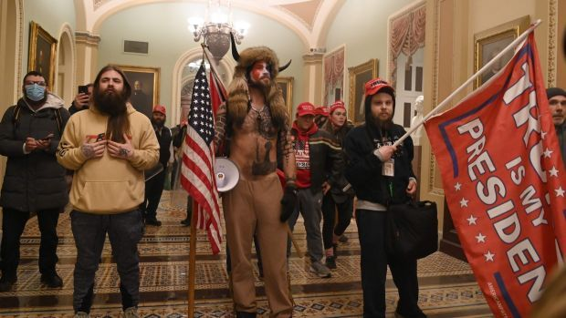 Supporters of then US president Donald Trump, inside the Capitol in Washington, DC on January 6th. Photograph: Saul Loeb/AFP via Getty Images