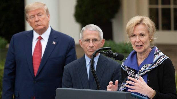 Dr Deborah Birx and Dr Anthony Fauci, with then president Donald Trump, during a coronavirus task force press briefing at the White House on March 29th, 2020. Photograph: Jim Watson/AFP via Getty Images