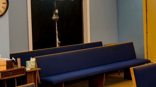 The pews where Moses Jones, who died of the coronavirus in April 2020, used to sit at Mount Olive Missionary Baptist Church, in Chicago. Photograph: Lyndon French/New York Times