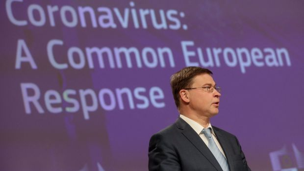 European Commission Vice-President Valdis Dombrovskis told a news conference the export authorisation mechanism was not targeting any specific country. Photograph: Stephanie Lecocq/AFP/Getty Images