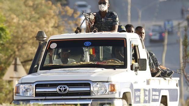 Units of the Ethiopian army patrol the streets of Mekelle city on March 7th. Photograph: Minasse Wondimu Hailu/Anadolu Agency via Getty Images