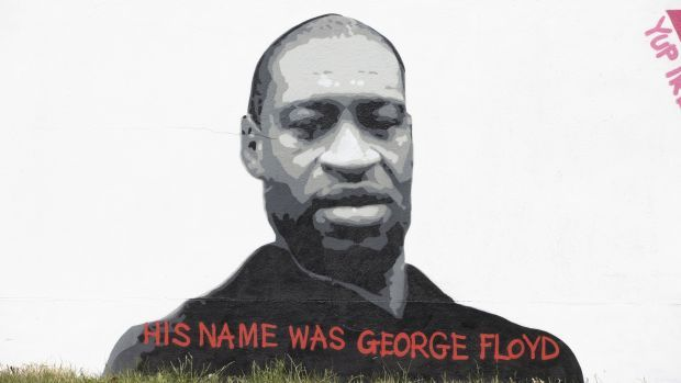 A mural of George Floyd in Dublin by artist Emmalene Blake. Mr Floyd's death was caught on video and sparked the largest civil rights uprising in the United States since the 1960s. Photograph: Tom Honan
