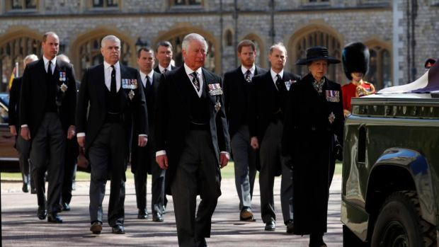The monarchy follow Prince Philip, Duke of Edinburgh's coffin during the ceremonial procession. Photograph: Alastair Grant/WPA Pool/Getty