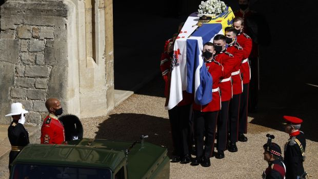 The Grenadier Guards carry the coffin of Prince Philip, Duke of Edinburgh. Photograph: Adrian Dennis/WPA Pool/Getty