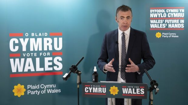 Plaid Cymru leader Adam Price launches his party's parliamentary election manifesto in Cardiff on April 7th. Photograph: Matthew Horwood/Getty Images