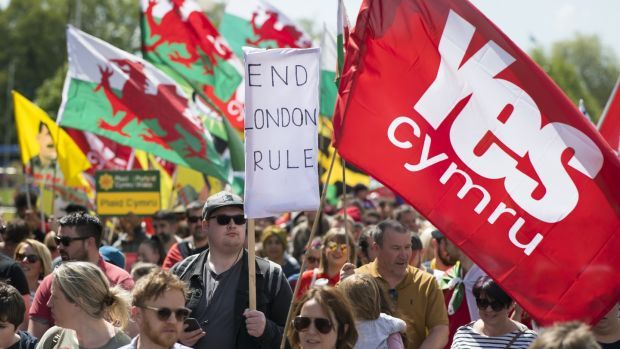 Thousands take part in the march for Welsh independence in Cardiff on May 11th, 2019. Photograph: Matthew Horwood/Getty Images