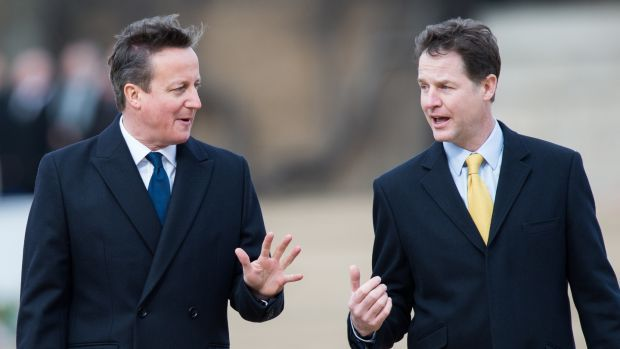 Then Lib Dems leader Nick Clegg and prime minister David Cameron in 2015. Photograph: Samir Hussein/WireImage