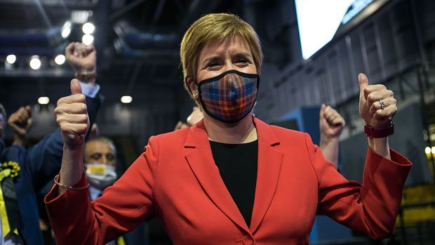 Scotland's First Minister and leader of the Scottish National Party (SNP), Nicola Sturgeon celebrates being declared the winner of the Glasgow Southside seat. Photograph: Robert Perry/EPA