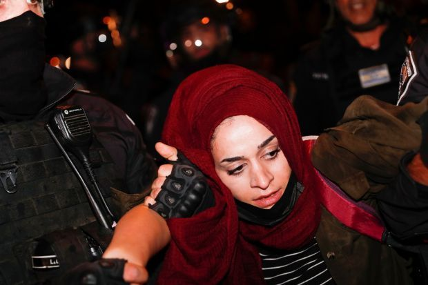 Israeli police arrest a Palestinian demonstrator during a protest in support of Palestinian families that face eviction from their homes at Sheikh Jarrah neighborhood, near Damascus gate in the old city of Jerusalem on May 8th. Photograph: Atef Safadi/EPA
