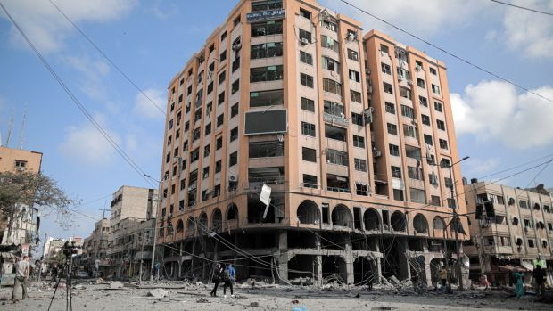 The Al-Jawhara building in Gaza City on Wednesday following an Israeli attack overnight. Photograpoh: Hosam Salem/New York Times