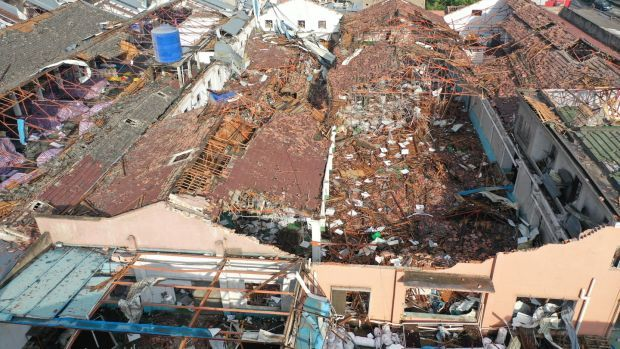 An aerial view of the aftermath of a tornado in Shengze township in the Suzhou area of Jiangsu province, where four people were killed and 149 injured. Photograph: Fang Dongxu/EPA