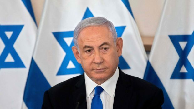 """Binyamin Netanyahu: Accused his former aide of using """"the same hollow slogans about hate and division"""", and of """"committing the fraud of the century"""". Photograph: Sebastian Scheiner/POOL/AFP via Getty Images"""