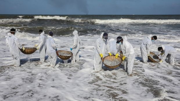 Sri Lanka Navy personnel clear the beach from debris and other materials that washed ashore on the beach of Negombo near Colombo. Photograph: Chamila Karunarathne/EPA