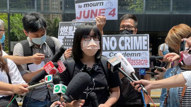 Chow Hang Tung speaks to media outside a court in Hong Kong on May 6th. File photograph: AP